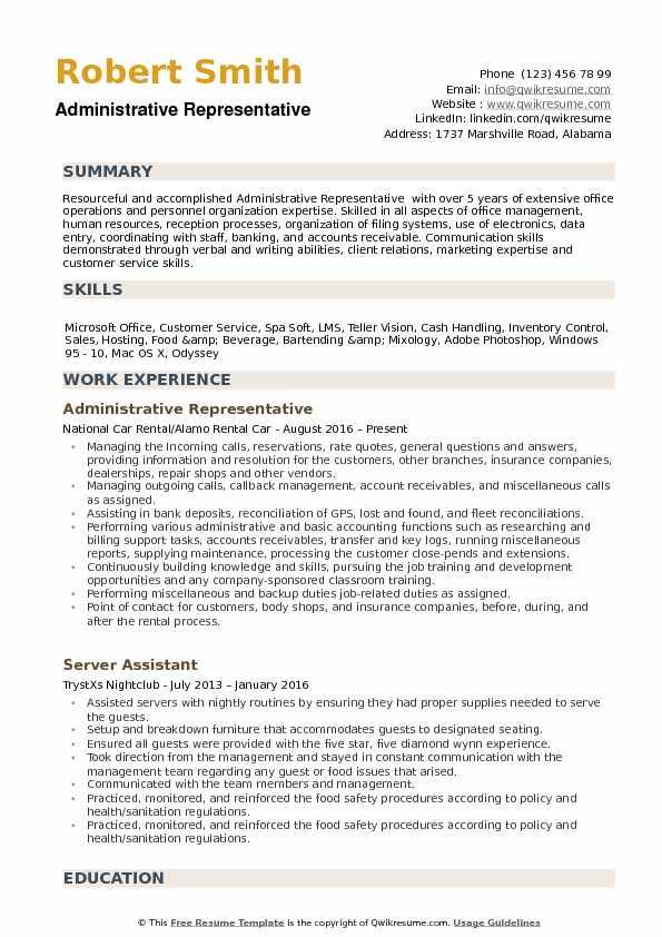 Administrative Representative Resume example