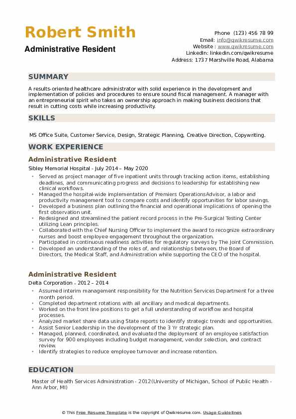 Administrative Resident Resume example