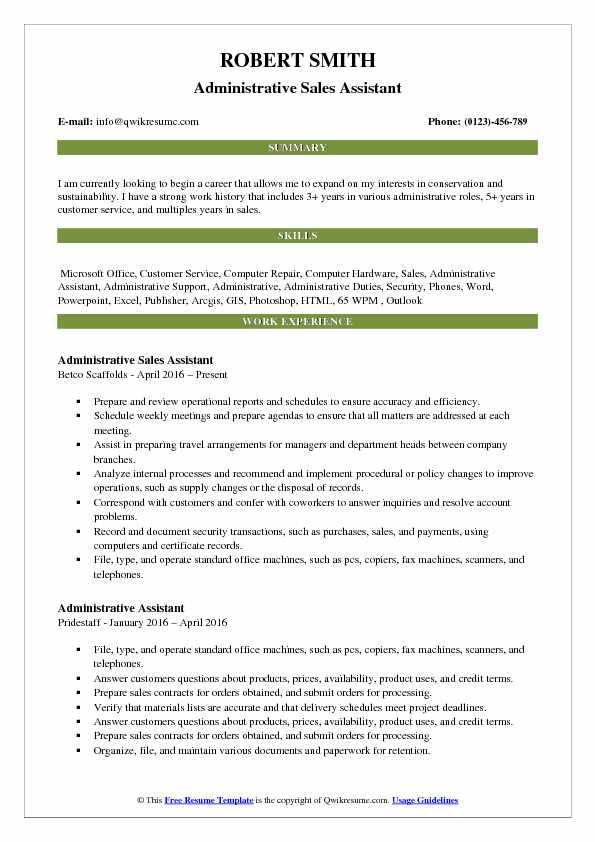 Administrative Sales Assistant Resume Format