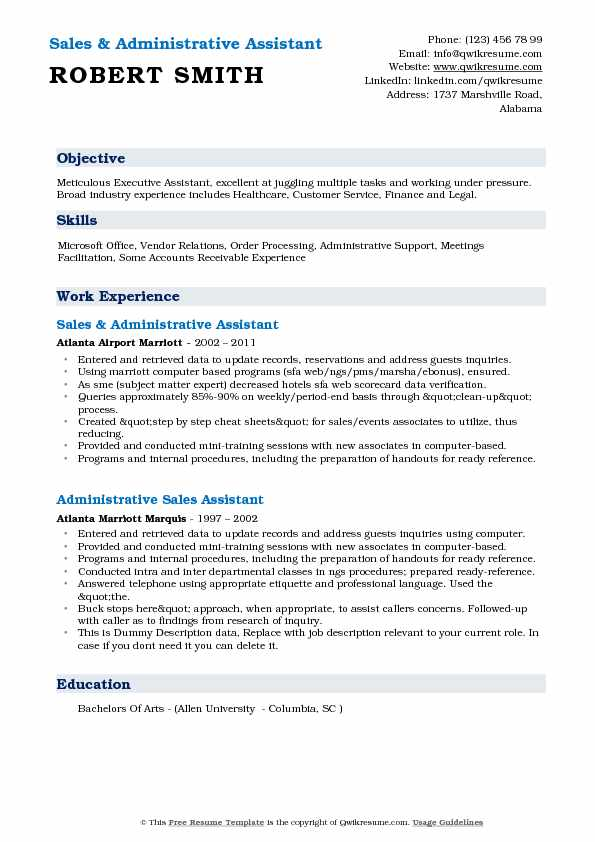 Sales & Administrative Assistant Resume Sample