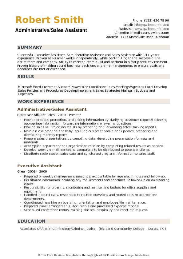 Administrative/Sales Assistant Resume Sample