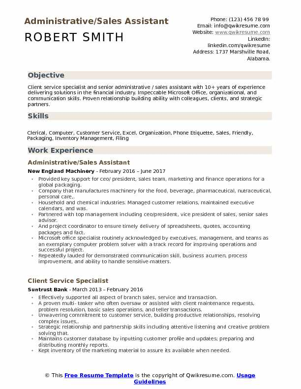Administrative Sales Assistant Resume example