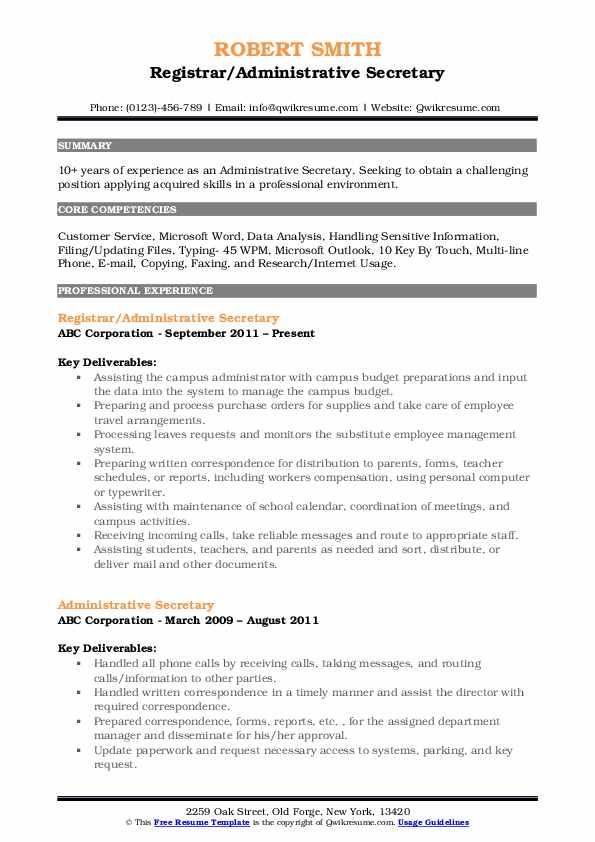 Registrar/Administrative Secretary Resume Format