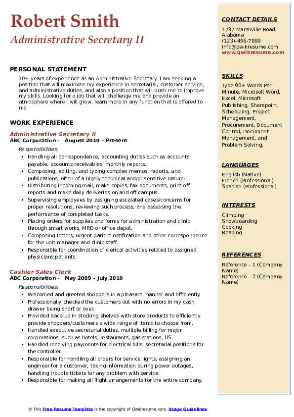 Administrative Secretary II Resume Format