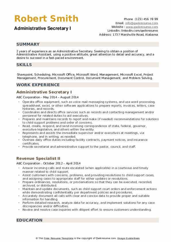 Administrative Secretary Resume example