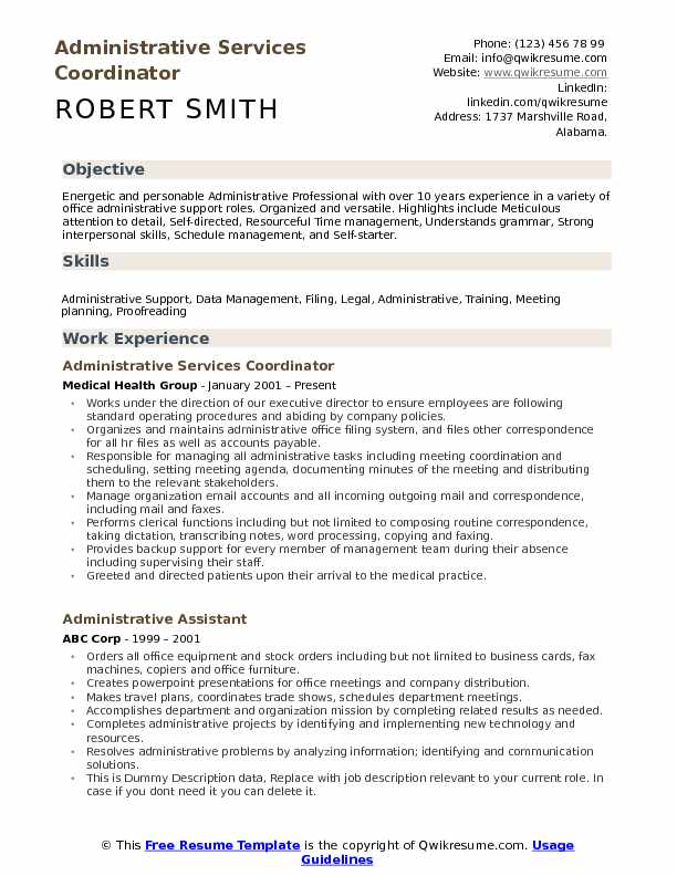 Administrative Services Coordinator Resume Model