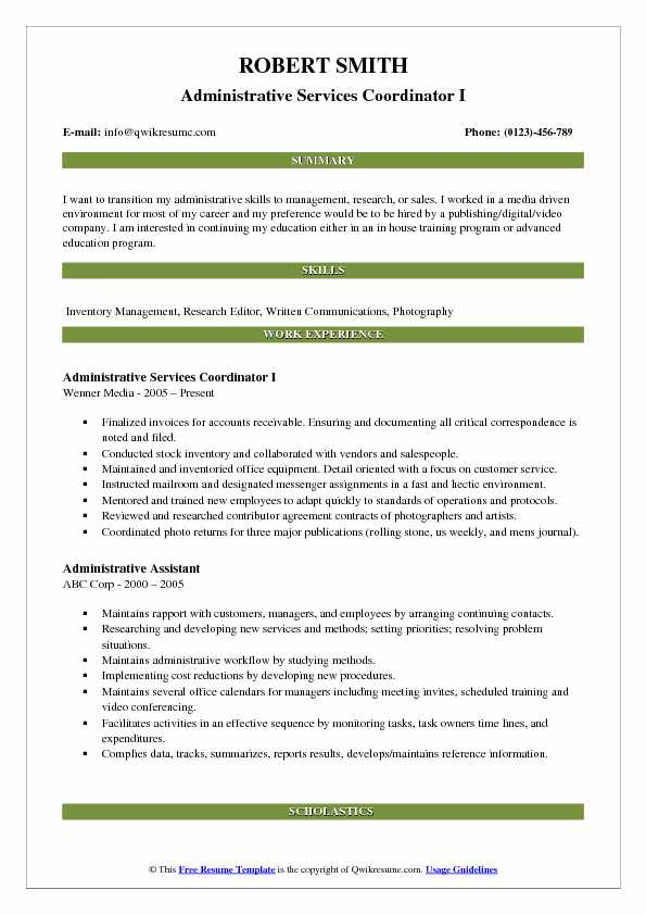 Administrative Services Coordinator I Resume Sample