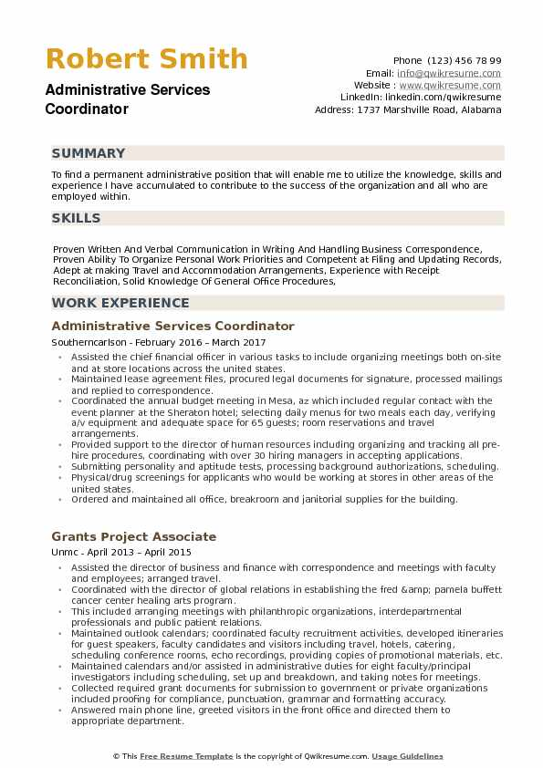 Administrative Services Coordinator  Resume Sample
