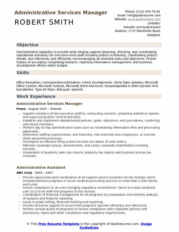 Administrative Services Manager Resume Sample