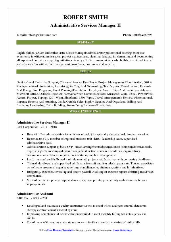 Administrative Services Manager II Resume Template