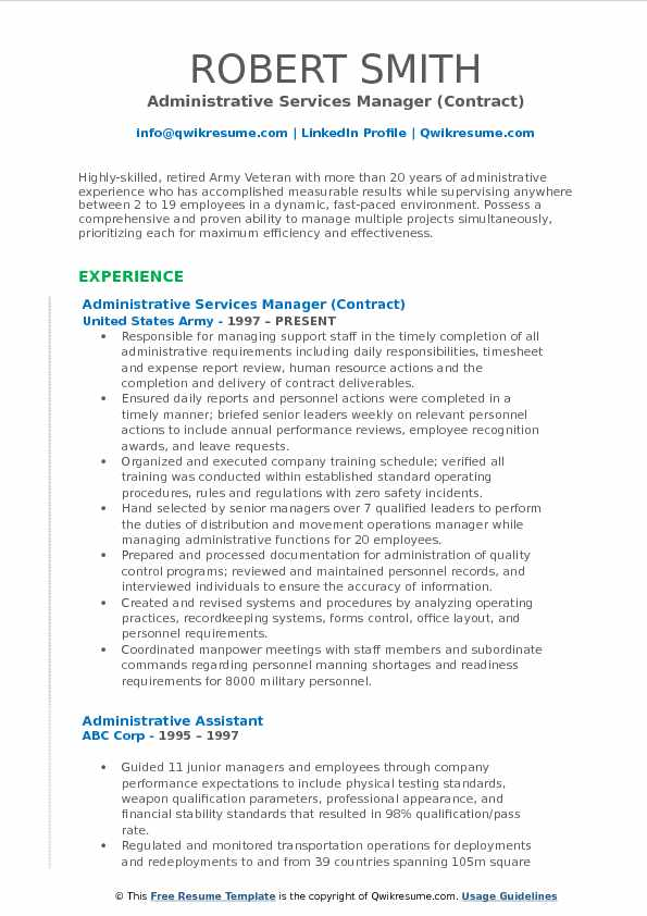 Administrative Services Manager (Contract) Resume Sample