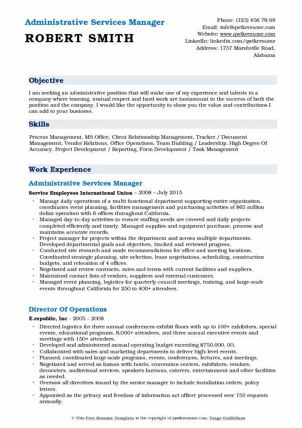 Administrative Services Manager Resume Template