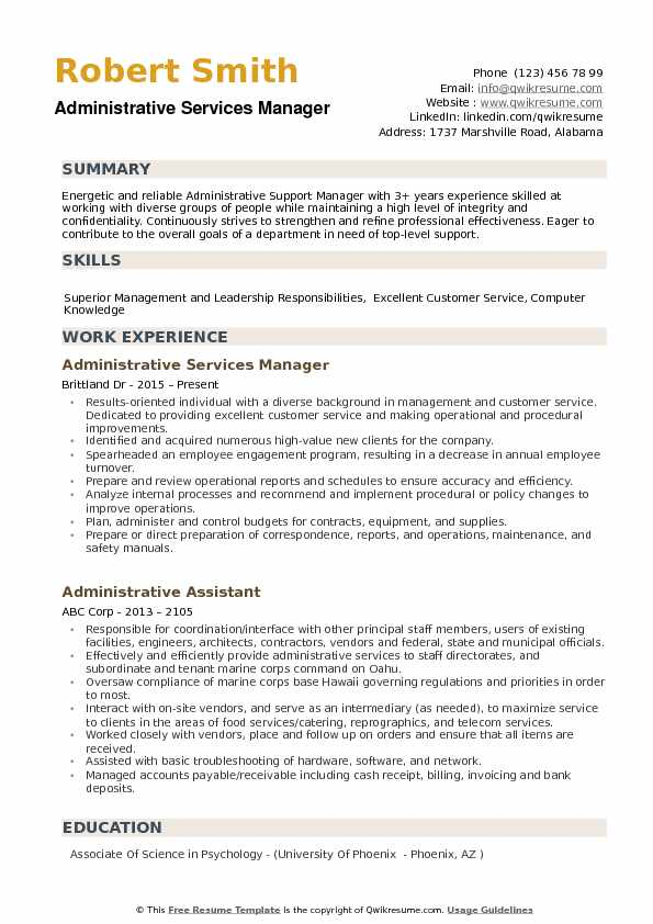 Administrative Services Manager Resume example