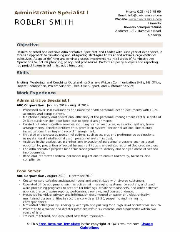 Administrative Specialist I Resume Format