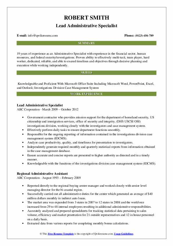 Lead Administrative Specialist Resume Example