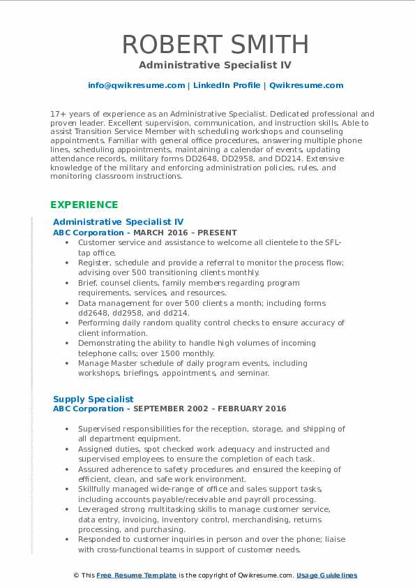 Administrative Specialist IV Resume Format