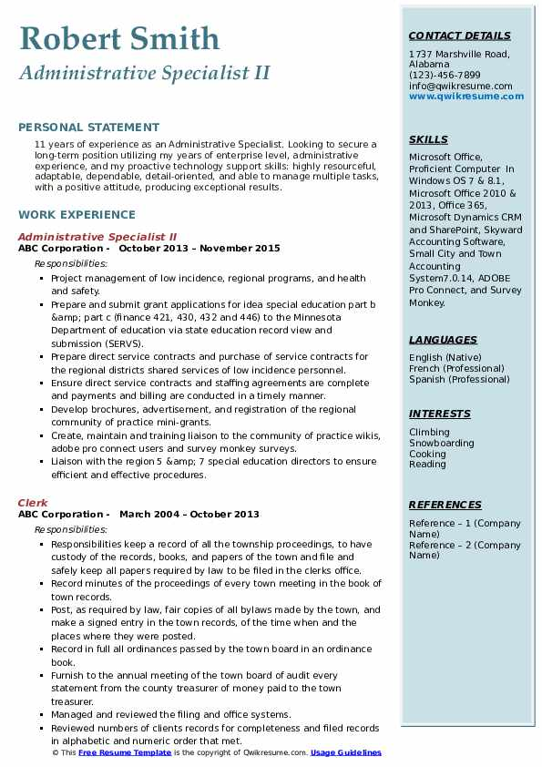 Administrative Specialist II Resume Template