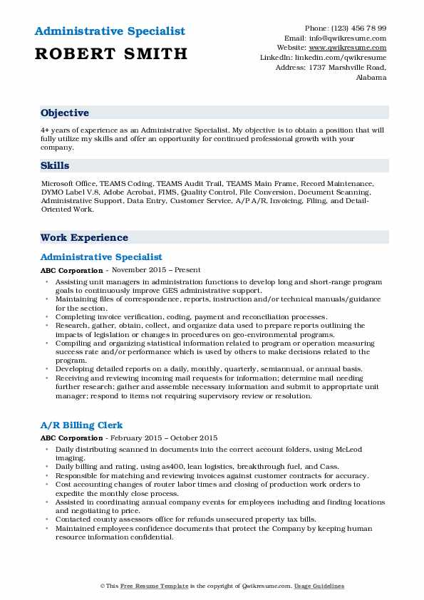 Administrative Specialist Resume Format
