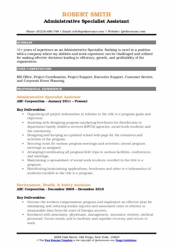 Administrative Specialist Assistant Resume Sample