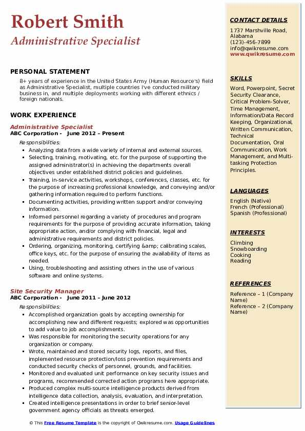 Administrative Specialist Resume Sample