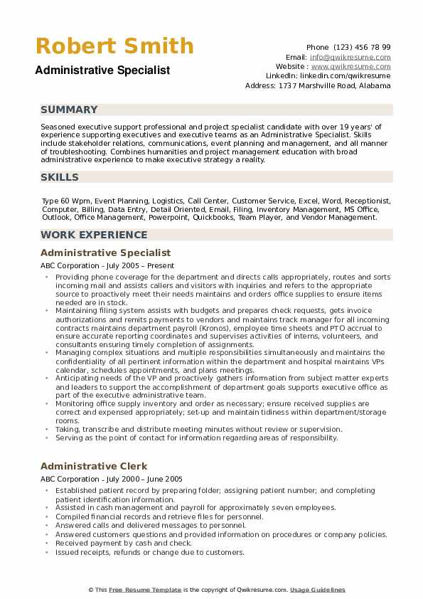 Administrative Specialist Resume example