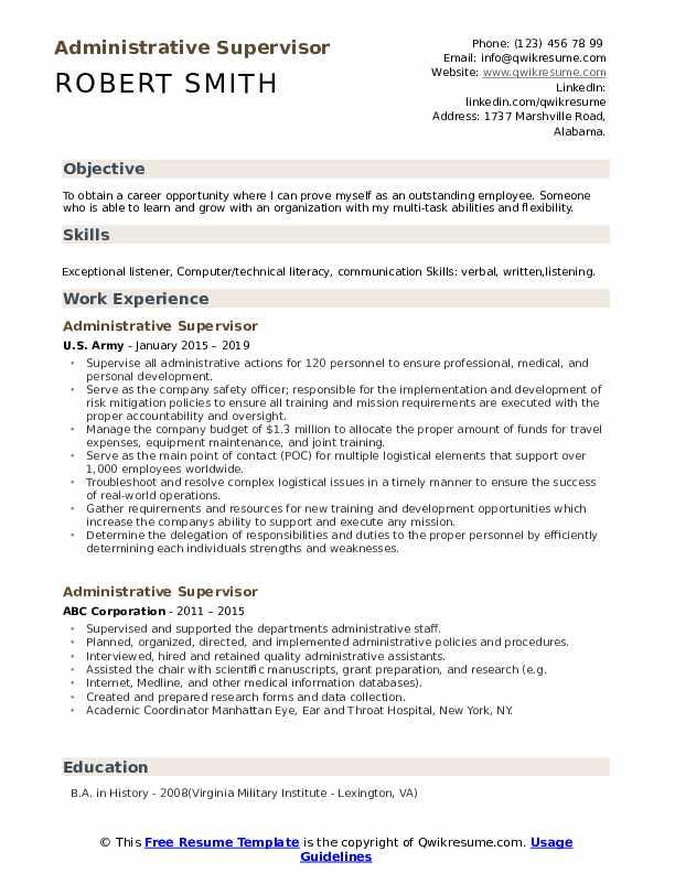 Administrative Supervisor Resume Format