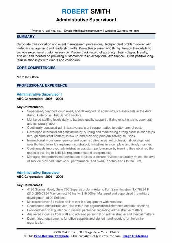 Administrative Supervisor I Resume Format