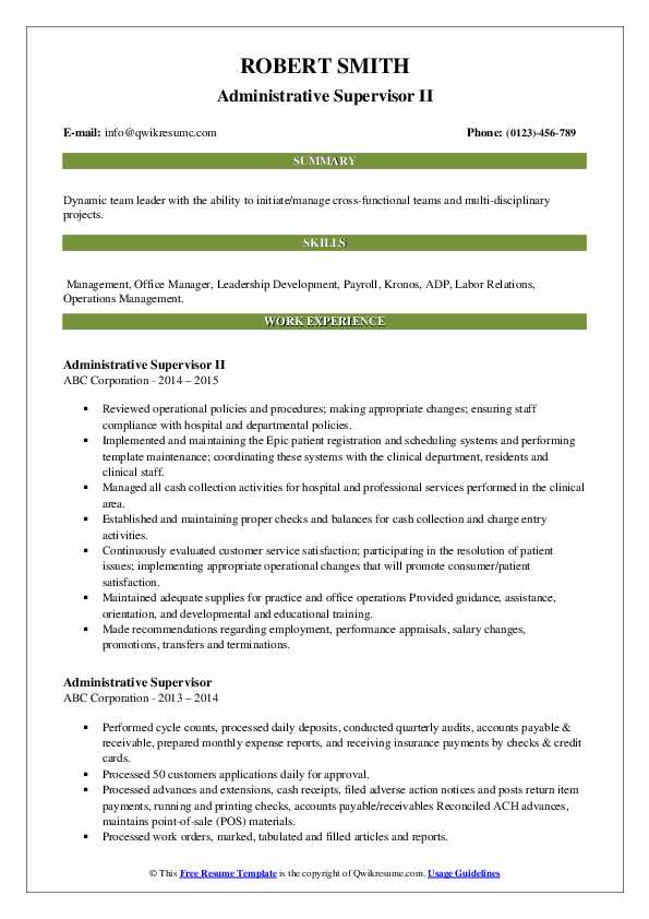 Administrative Supervisor II Resume Model