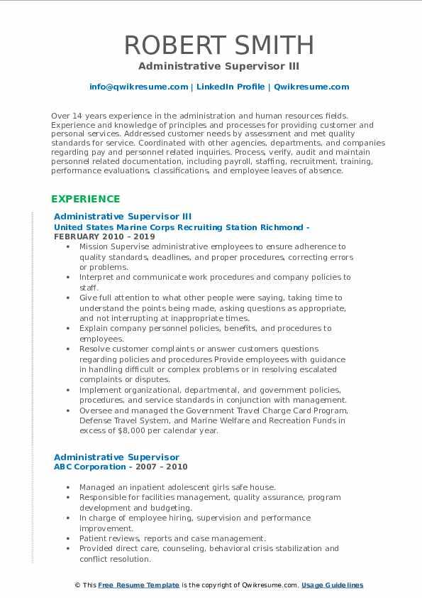Administrative Supervisor III Resume Model