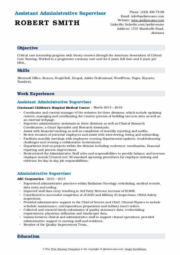 Assistant Administrative Supervisor Resume Format