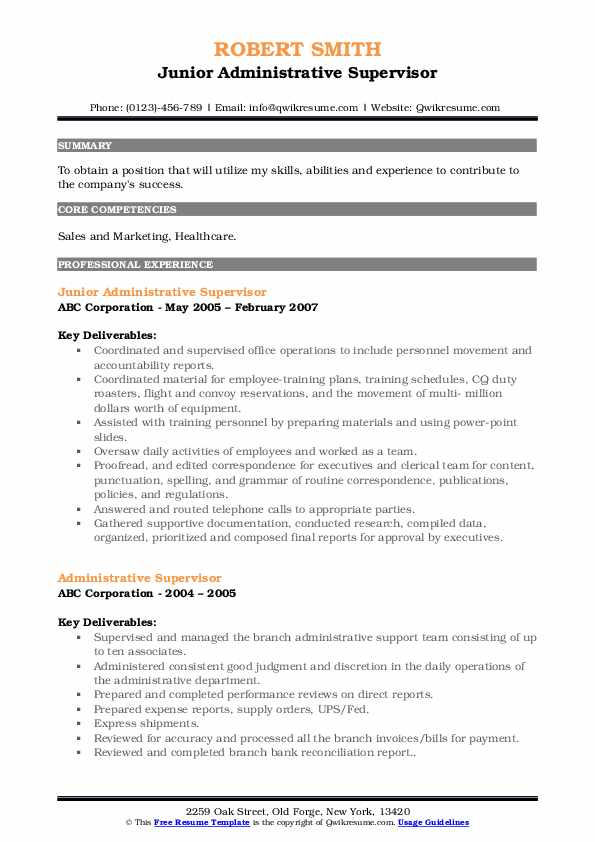 Junior Administrative Supervisor Resume Example