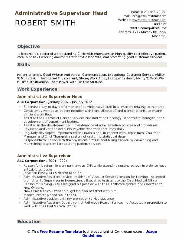 Administrative Supervisor Head Resume Sample