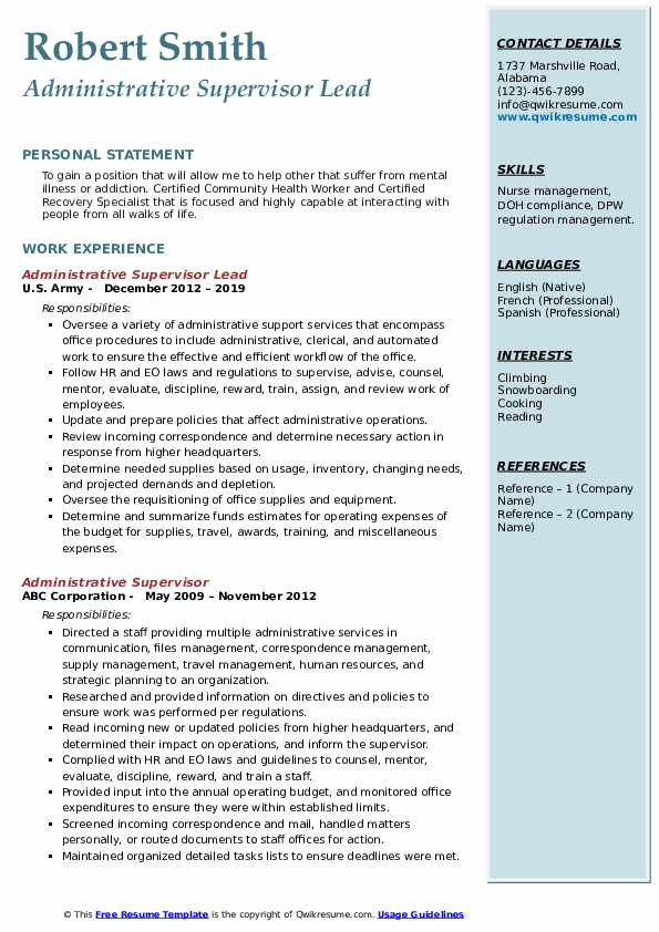 Administrative Support Specialist I Resume Template