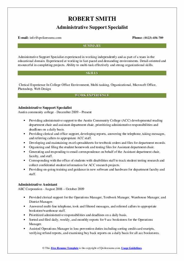 Administrative Support Specialist Resume Template