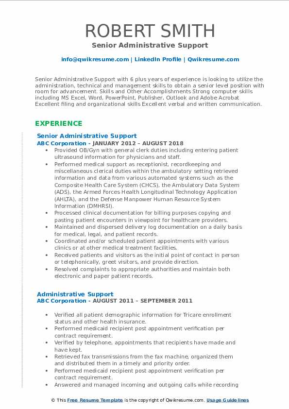 Senior Administrative Support Resume Template