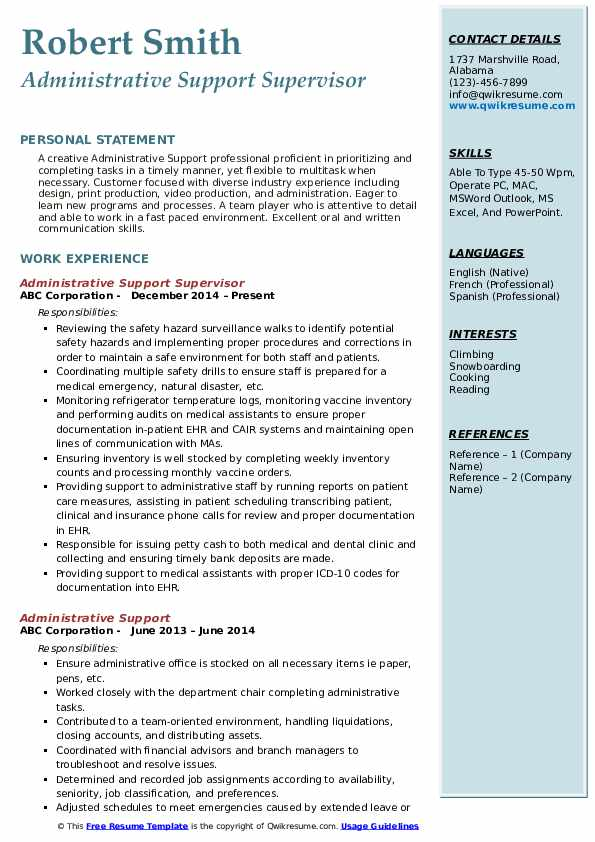 Administrative Support Supervisor Resume Model