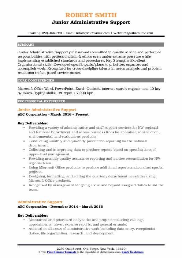 Junior Administrative Support Resume Sample