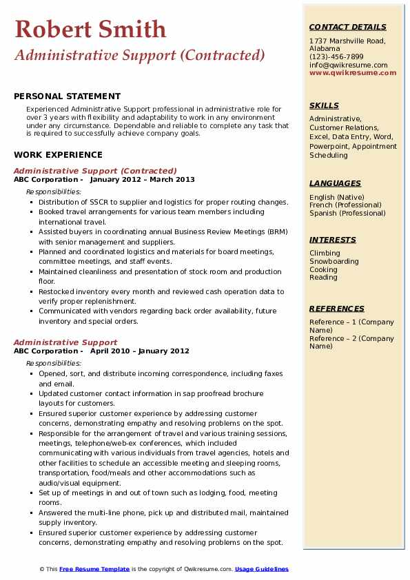 Administrative Support (Contracted) Resume Template