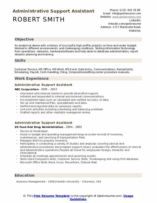 Administrative Support Assistant Resume Example