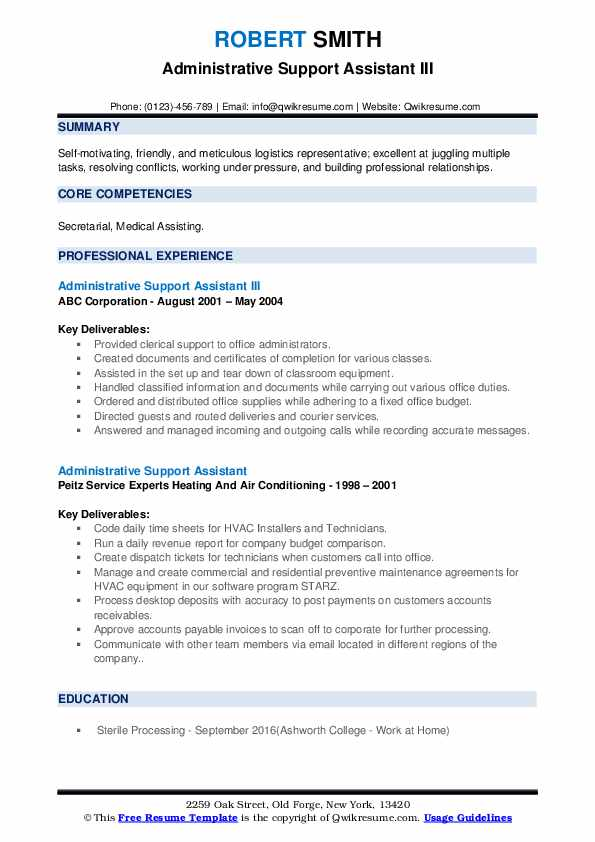 Administrative Support Assistant III Resume Template