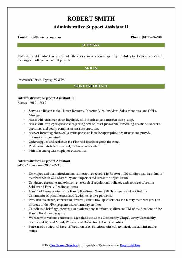 Administrative Support Assistant II Resume Example