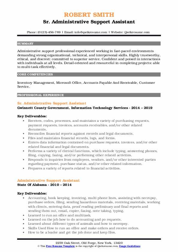 Sr. Administrative Support Assistant Resume Format