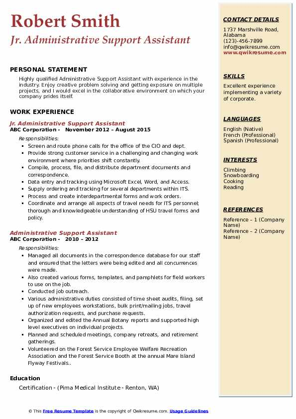 Jr. Administrative Support Assistant Resume Template
