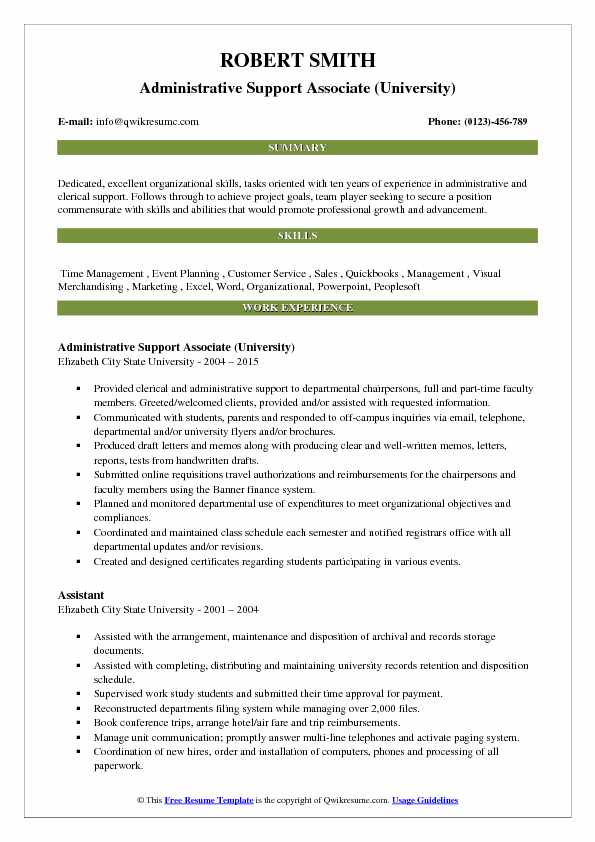 Administrative Support Associate (University) Resume Example