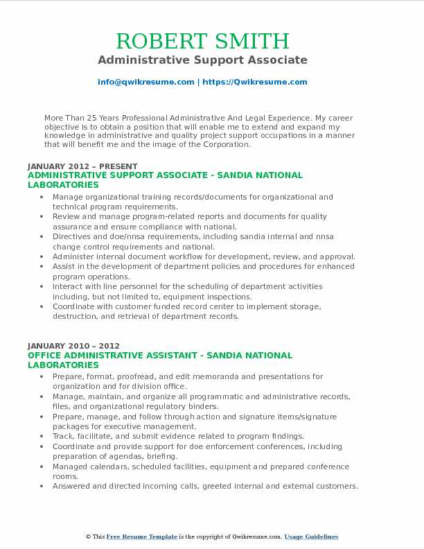Administrative Support Associate Resume Sample