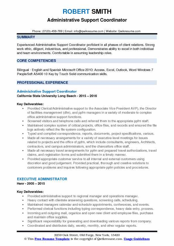 Administrative Support Coordinator Resume Example