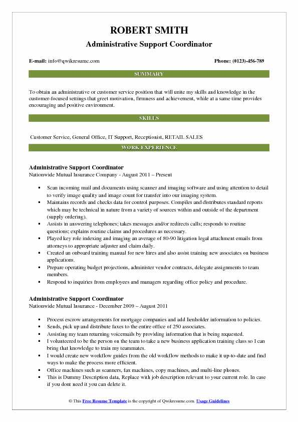 Administrative Support Coordinator Resume Template
