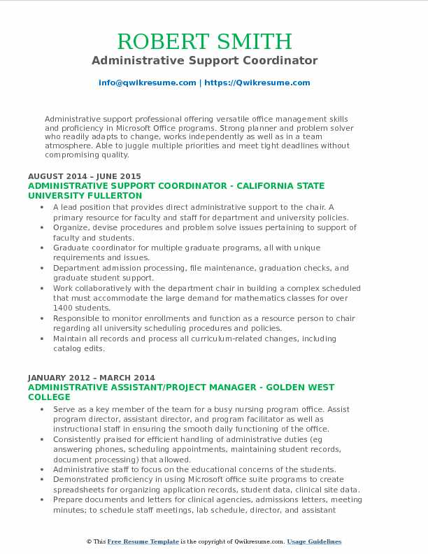 Administrative Support Coordinator Resume Format