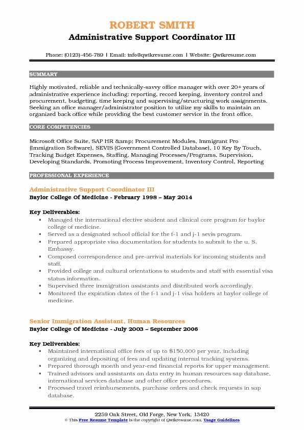Administrative Support Coordinator III Resume Sample