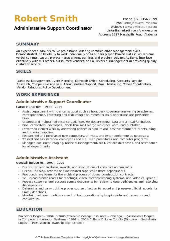 Administrative Support Coordinator Resume Samples Qwikresume